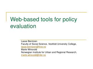 Web-based tools for policy evaluation