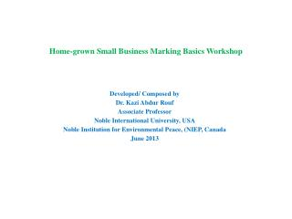 Home-grown Small Business Marking Basics Workshop