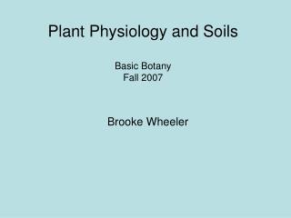 Plant Physiology and Soils Basic Botany Fall 2007