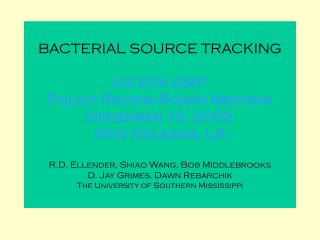 BACTERIAL SOURCE TRACKING