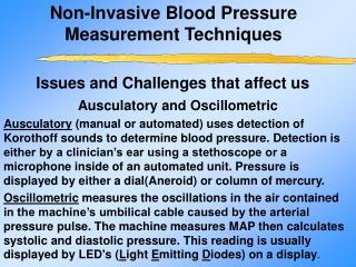Non-Invasive Blood Pressure Measurement Techniques