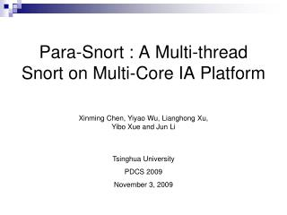 Para-Snort : A Multi-thread Snort on Multi-Core IA Platform