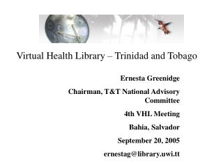 Virtual Health Library � Trinidad and Tobago