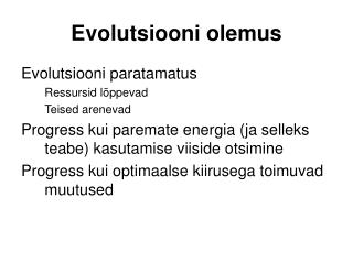 Evolutsiooni olemus