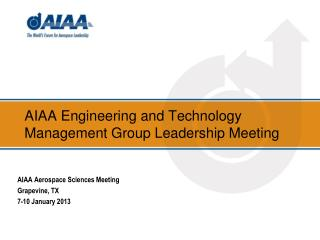 AIAA Engineering and Technology Management Group Leadership Meeting