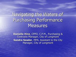 Navigating the Waters of Purchasing Performance Measures