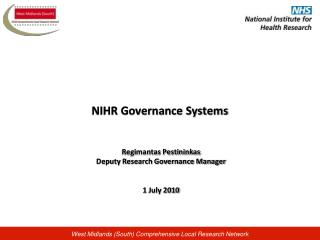 NIHR Governance Systems