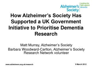 How Alzheimer's Society Has Supported a UK Government Initiative to Prioritise Dementia Research