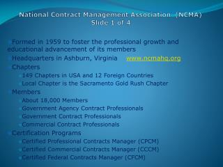 National Contract Management Association  (NCMA) Slide 1 of 4
