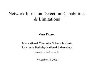 Network Intrusion Detection: Capabilities & Limitations