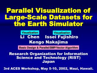 Parallel Visualization of  Large-Scale Datasets for  the Earth Simulator