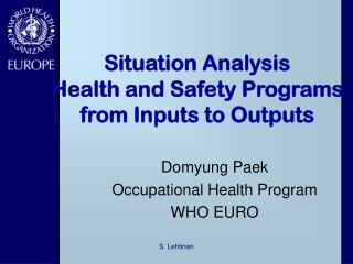 Situation Analysis Health and Safety Programs from Inputs to Outputs