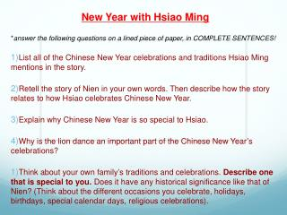 New Year with Hsiao Ming