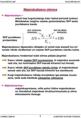 MAJANDUSE ABC                       MAJANDUSKASV