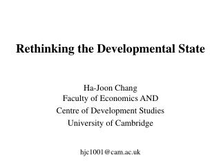 Rethinking the Developmental State