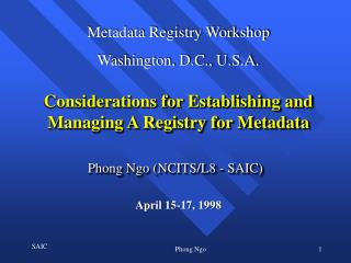 Considerations for Establishing and Managing A Registry for Metadata