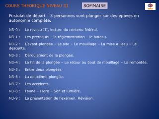 COURS THEORIQUE NIVEAU III