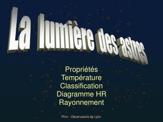 Propri�t�s Temp�rature Classification Diagramme HR Rayonnement