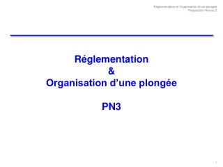R�glementation  & Organisation d�une plong�e PN3