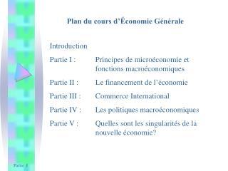 Plan du cours d'Économie Générale