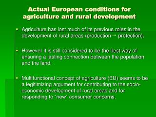 The socio-economic impact of Multifunctional Agriculture  on rural areas Thesis Proposal
