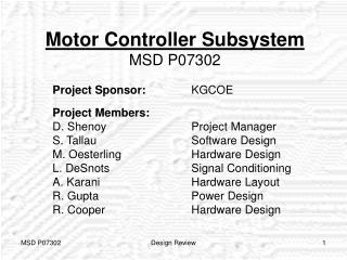 Motor Controller Subsystem MSD P07302