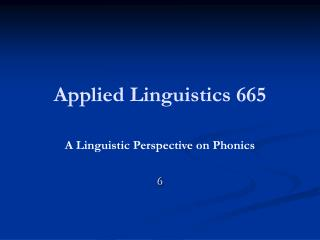Applied Linguistics 665