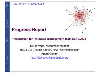 Progress Report Presentation for the InBCT management team 28.10.2004