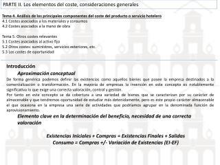 Tema 4. Análisis de los principales componentes del coste del producto o servicio hotelero