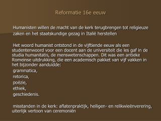 Reformatie 16e eeuw