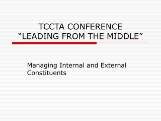 """TCCTA CONFERENCE """"LEADING FROM THE MIDDLE"""""""