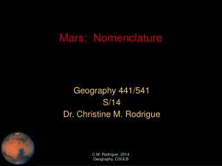 Mars:  Nomenclature