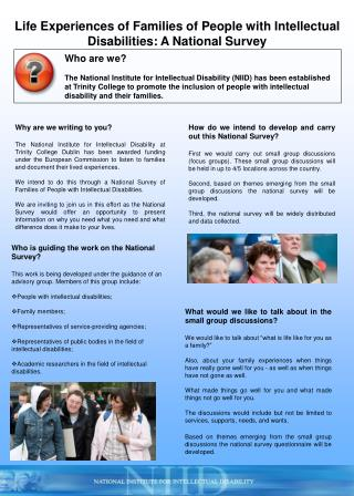 Life Experiences of Families of People with Intellectual Disabilities: A National Survey