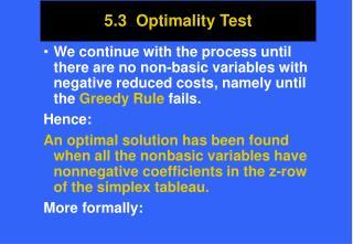 5.3  Optimality Test