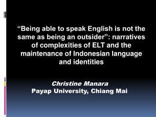 Christine Manara Payap University, Chiang Mai