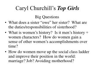 Caryl Churchill�s  Top Girls