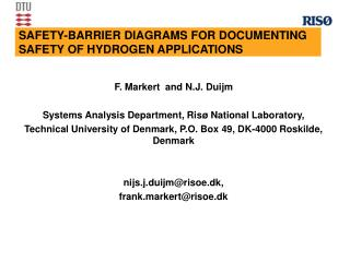 SAFETY-BARRIER DIAGRAMS FOR DOCUMENTING  SAFETY OF HYDROGEN APPLICATIONS