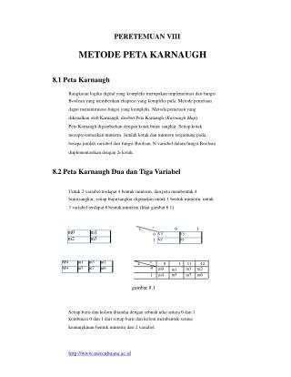 PERETEMUAN VIII METODE PETA KARNAUGH 8.1 Peta Karnaugh