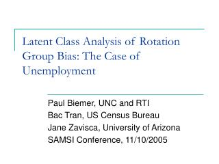 Latent Class Analysis of Rotation Group Bias: The Case of Unemployment