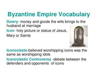 Byzantine Empire Vocabulary
