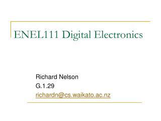 ENEL111 Digital Electronics