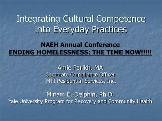 Integrating Cultural Competence  into Everyday Practices