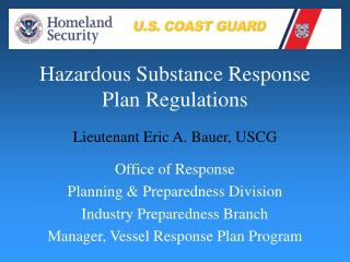 Hazardous Substance Response Plan Regulations
