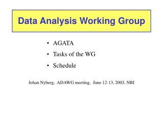 Data Analysis Working Group