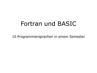 Fortran und BASIC