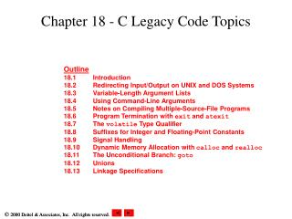 Chapter 18 - C Legacy Code Topics