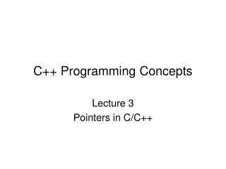 C++ Programming Concepts