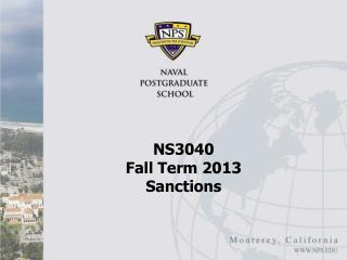NS3040  Fall Term 2013 Sanctions