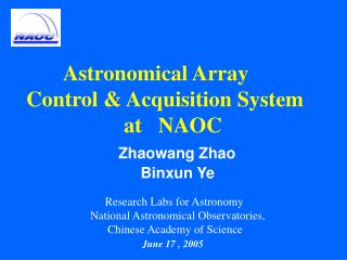 Astronomical Array      Control & Acquisition System