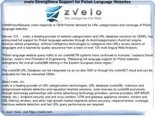 zvelo Strengthens Support for Polish Language Websites